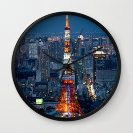 A Red Eifell Tower At Night? Wall Clock