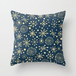 Hand Drawn Snowflakes Golden Throw Pillow