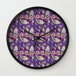 Oriental ornament purple . artwork Wall Clock