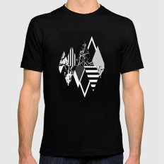 STAND OUT! In Black And White - Abstract, textured geometry! MEDIUM Black Mens Fitted Tee