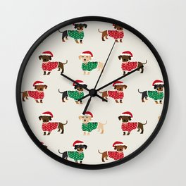 Dachshund christmas sweater holiday santa hat doxie dachsie lovers Wall Clock