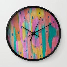 Raindrops and Rainbows Abstract Wall Clock