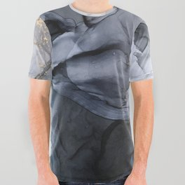 Calm but Dramatic Light Monochromatic Black & Grey Abstract All Over Graphic Tee