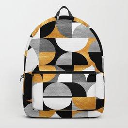 Mid Century Modern Geometric Print // Gold, Silver, Black and White // Geo Art Backpack