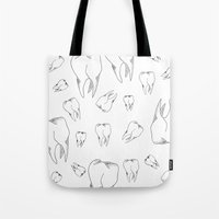 tooth Tote Bags featuring Tooth by Mafe Oropeza