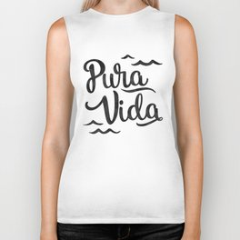 Pura Vida Costa Rica Waves in Black Biker Tank