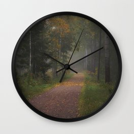 Misty autumn path Wall Clock