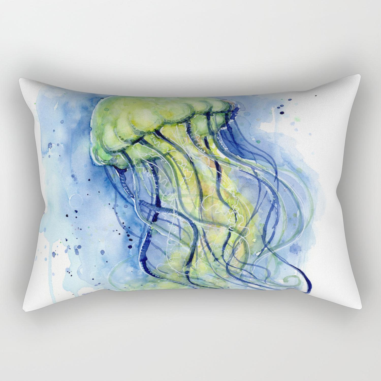 Jellyfish Watercolor Beautiful Sea Creatures Rectangular Pillow By Olechka Society6