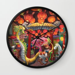 Animals in Chinatown Wall Clock