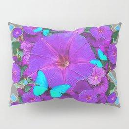 Shimmering Blue Butterflies  Purple Floral Art Pillow Sham