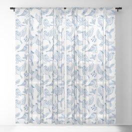 Winter Birds and Foliage Pattern (Blue) Sheer Curtain