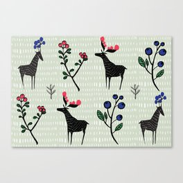 Berry loving deers on a green background Canvas Print