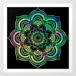 Neon Psychedelic Mandala Art Print