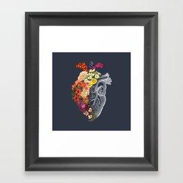 Flower Heart Spring Blue Grey Framed Art Print