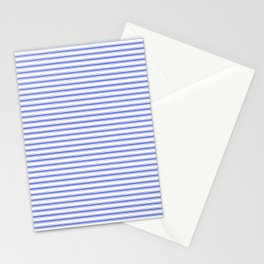 Small Horizontal Cobalt Blue and White French Mattress Ticking Stripes Stationery Cards