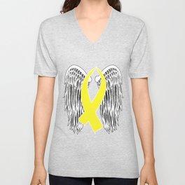 Winged Awareness Ribbon (Yellow) Unisex V-Neck