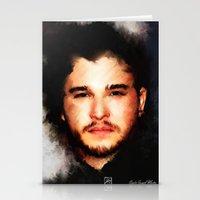 john snow Stationery Cards featuring Kit Harrington aka John Snow by André Joseph Martin