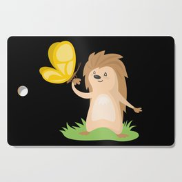 Hedgehog and Butterfly   Cute Animals Cutting Board