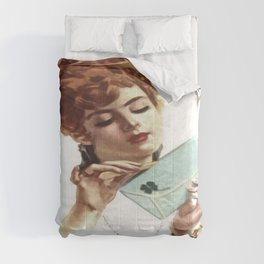 Beautiful Young Woman Holding Love Letter Vintage Vector Comforters