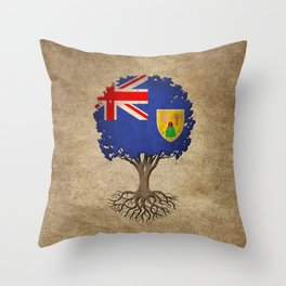 Vintage Tree of Life with Flag of Turks and Caicos Throw Pillow