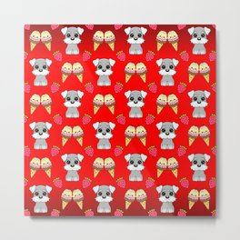 Cute happy funny baby Schnauzer puppy, sweet adorable yummy colorful Kawaii ice cream cones and red summer strawberries cartoon bright red pattern design Metal Print