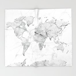 world map marble Throw Blanket