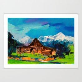 Sunny Day Over Teton Barn Art Print