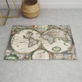 Vintage World Map, 1689 Rug