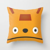 grim fandango Throw Pillows featuring Glottis - Grim Fandango by Jose Zelig