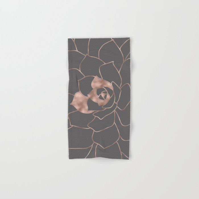 Rosegold  blossom on grey - Pink metal-effect flower Hand & Bath Towel