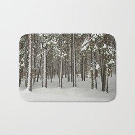 Snowfall in the taiga forest Bath Mat