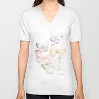 butterflies V-neck T-shirts featuring Butterflies by Aline Souza de Souza