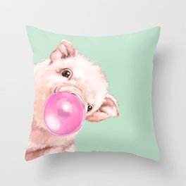 Bubble Gum Sneaky Baby Pig in Green Throw Pillow