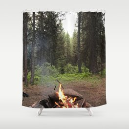 Backpacking Camp Fire Shower Curtain