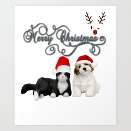 Funny Christmas Cats and Dogs T-Shirt Art Print