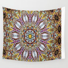 Lovely Healing Mandala  in Brilliant Colors: Black, Brown, Gold, Mauve, and Blue Wall Tapestry