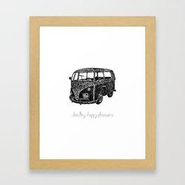 Hippie Retro Van Doodle Framed Art Print
