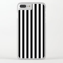 Stripe Black & White Vertical Clear iPhone Case