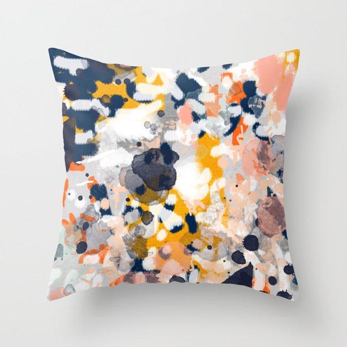 Navy Blue Orange And Large White Stripes Throw Pillow