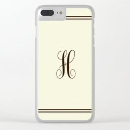 Monogram Letter H in Brown with Double Border Line Clear iPhone Case