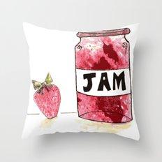 Strawberry VS Jam Throw Pillow
