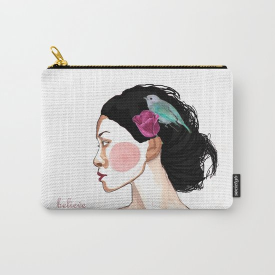 girl with tulip and bird Carry-All Pouch