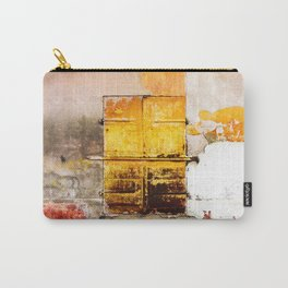 Old Metal Yellow Door on Scratched Wall Carry-All Pouch