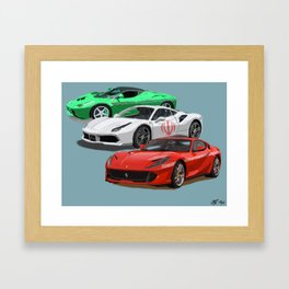 Iranian Flag Sports Cars Framed Art Print