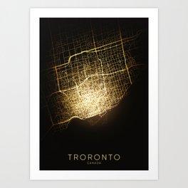 toronto Canada city night light map Art Print
