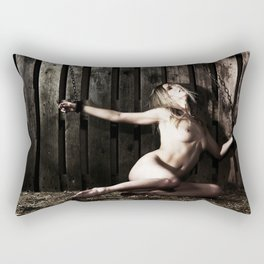 Woman shackled with heavy shackles or cuffs Rectangular Pillow