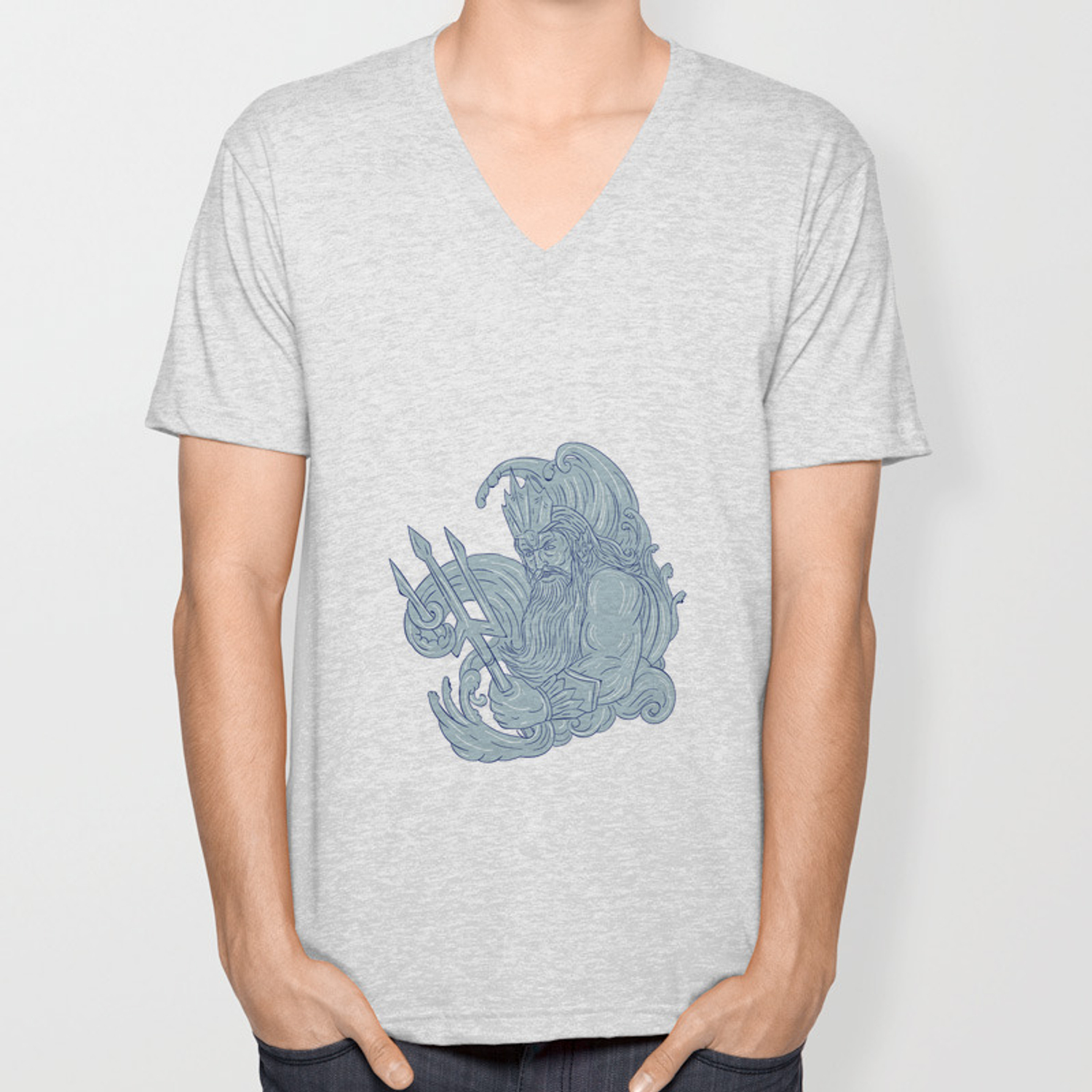 Poseidon Trident Waves Drawing Unisex V Neck By Patrimonio