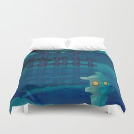 Japanese Woodblock print Torii In The Lake During Night Blue Monochromatic Duvet Cover