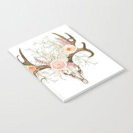 Bohemian deer skull and antlers with flowers Notebook
