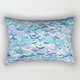 Marble Mosaic in Sapphire and Emerald Rectangular Pillow